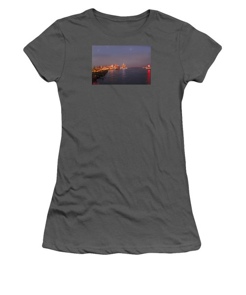 Women's T-Shirt (Junior Cut) featuring the photograph Detroit Skyline At Night by Michael Rucker