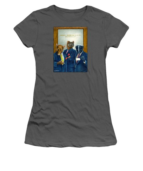 Women's T-Shirt (Junior Cut) featuring the painting Dewey, Cheetum And Howe... by Will Bullas