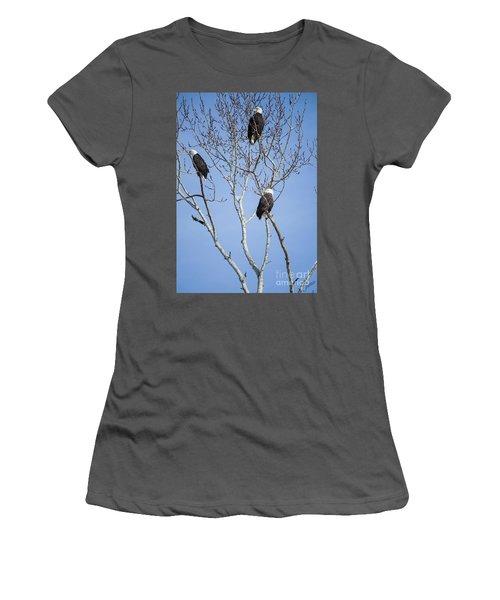 Women's T-Shirt (Junior Cut) featuring the photograph Eagles by Jim  Hatch