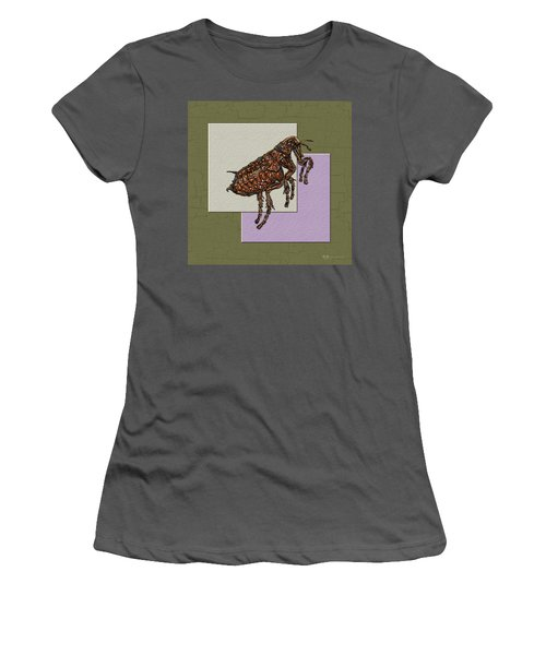 Flea On Abstract Beige Lavender And Dark Khaki Women's T-Shirt (Athletic Fit)
