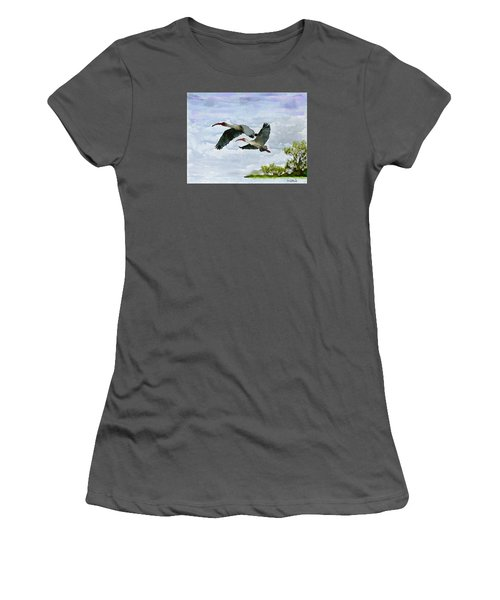 Women's T-Shirt (Junior Cut) featuring the painting Fly Away by Wayne Pascall