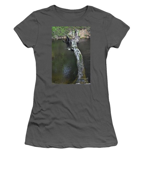 Women's T-Shirt (Junior Cut) featuring the photograph Footbridge by Skip Willits