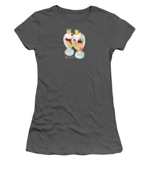 Women's T-Shirt (Junior Cut) featuring the painting Fruit Cocktail by Jean Pacheco Ravinski