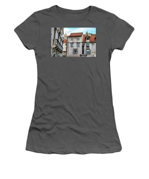 Houses And Cathedral Of Saint Domnius, Dujam, Duje, Bell Tower Old Town, Split, Croatia Women's T-Shirt (Junior Cut) by Elenarts - Elena Duvernay photo