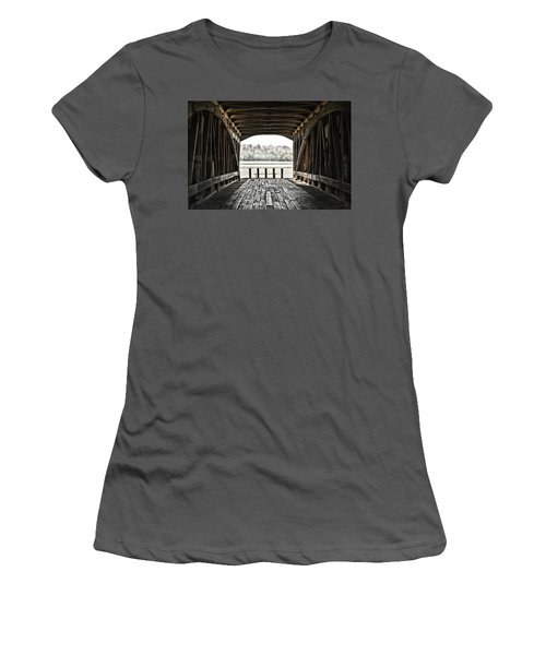 Inside The Covered Bridge Women's T-Shirt (Junior Cut) by Joanne Coyle