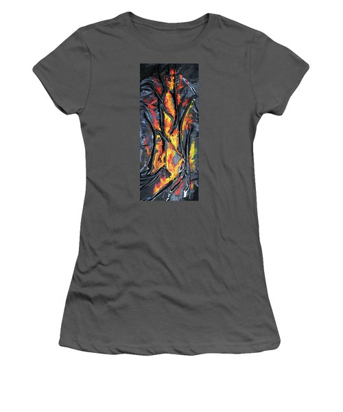 Women's T-Shirt (Junior Cut) featuring the mixed media Leather And Flames by Angela Stout