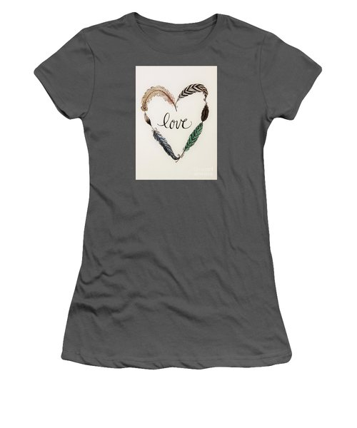Women's T-Shirt (Junior Cut) featuring the painting Feathers Of Love by Elizabeth Robinette Tyndall