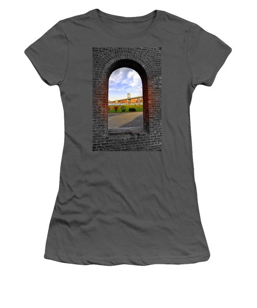 Manhattan Bridge Framed Women's T-Shirt (Junior Cut) by Mark Gilman