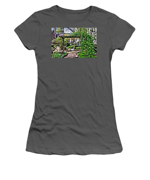 Women's T-Shirt (Athletic Fit) featuring the photograph Manhattan Community Garden by Joan Reese