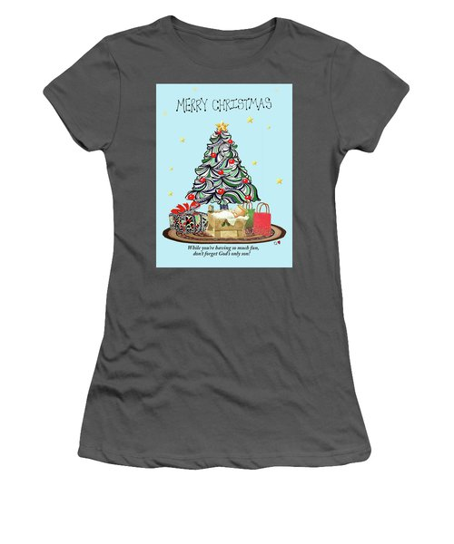 Women's T-Shirt (Junior Cut) featuring the drawing Merry Christmas by Quwatha Valentine