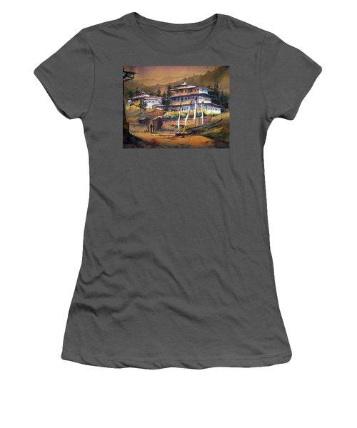 Women's T-Shirt (Junior Cut) featuring the painting Monastery In Himalaya Mountain by Samiran Sarkstery in Himalaya Mountainar