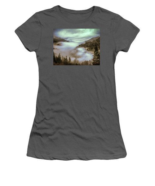Morning Mountains II Women's T-Shirt (Junior Cut) by Rebecca Hiatt