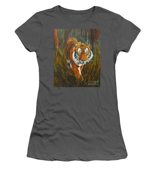 Women's T-Shirt (Athletic Fit) featuring the painting Out Of The Woods by Beatrice Cloake