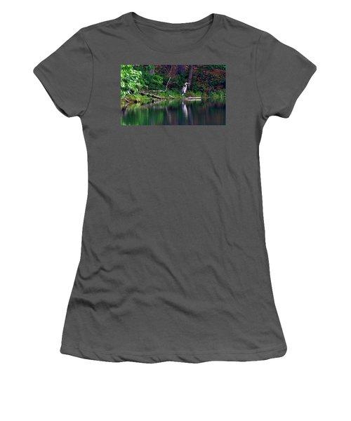 Posing Great Blue Heron  Women's T-Shirt (Athletic Fit)