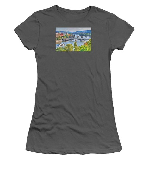 Women's T-Shirt (Junior Cut) featuring the photograph Prague Bridges by Dennis Cox WorldViews