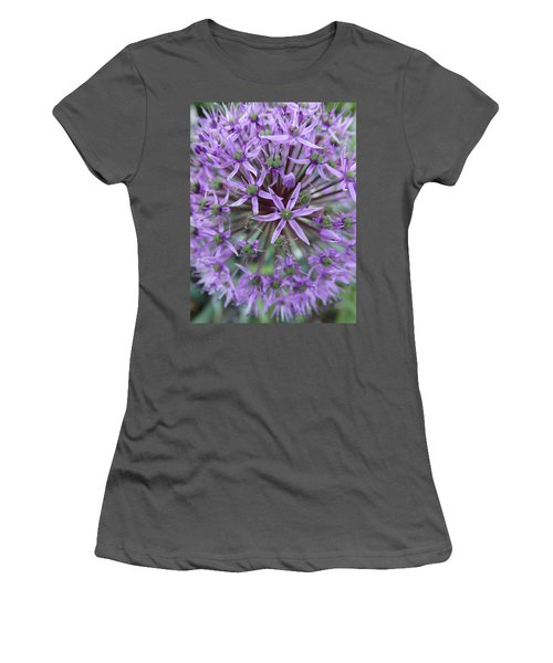 Purple Allium Burst Women's T-Shirt (Junior Cut) by Rebecca Overton