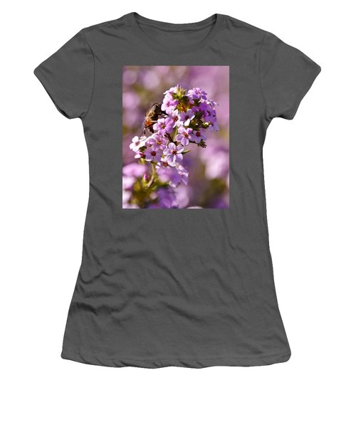 Purple Blossoms And Hoverfly Women's T-Shirt (Athletic Fit)