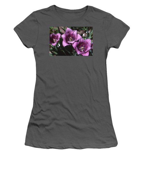 Purple Flowers Two  Women's T-Shirt (Junior Cut) by Lyle Crump