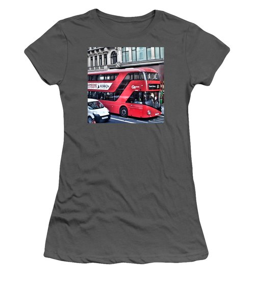 Red Bus In London  Women's T-Shirt (Athletic Fit)