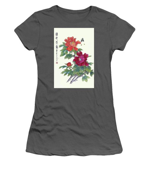 Red Peonies Women's T-Shirt (Junior Cut) by Yufeng Wang