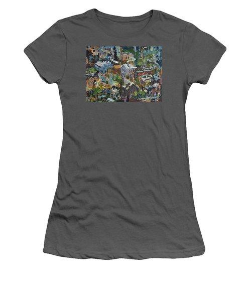 Richmond Virginia Cityscape Painting Women's T-Shirt (Athletic Fit)