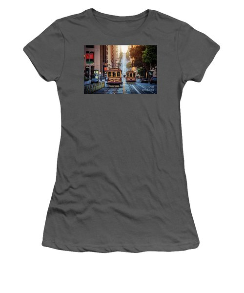 San Francisco Cable Cars Women's T-Shirt (Junior Cut) by JR Photography