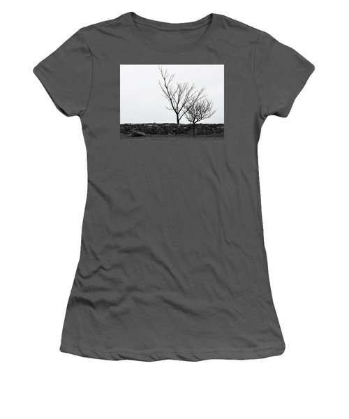 Women's T-Shirt (Junior Cut) featuring the photograph Stone Wall With Trees In Winter by Nancy De Flon