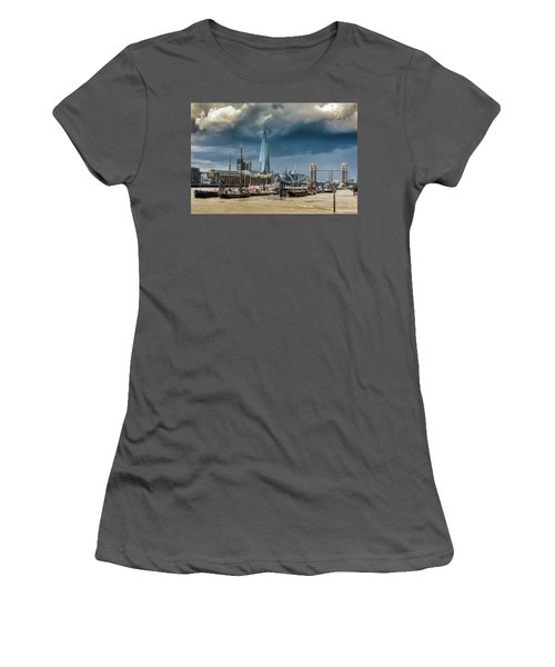 Women's T-Shirt (Athletic Fit) featuring the photograph Storm Looming Over The Shard And Tower Bridge by Gary Eason