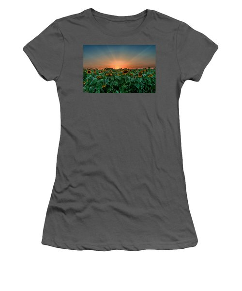 Sunset Over A Sunflowers Field Women's T-Shirt (Athletic Fit)