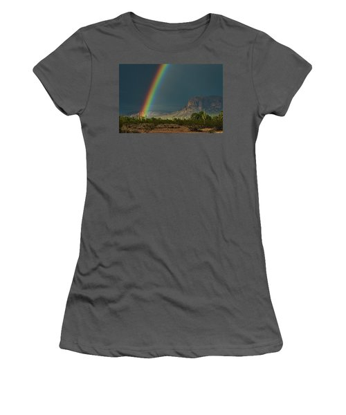 Women's T-Shirt (Athletic Fit) featuring the photograph Superstition Rainbow  by Saija Lehtonen