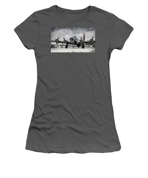 B-17 Bomber Madras Maiden  Women's T-Shirt (Junior Cut)