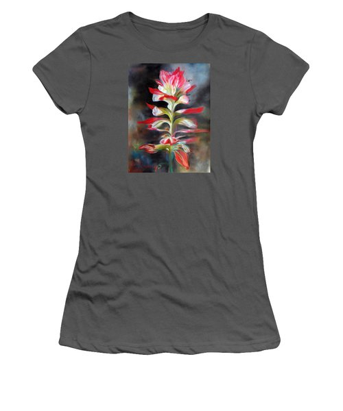 Women's T-Shirt (Junior Cut) featuring the pastel Texas Indian Paintbrush by Karen Kennedy Chatham