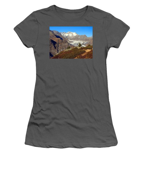 The Large Aletsch Glacier In Switzerland Women's T-Shirt (Athletic Fit)