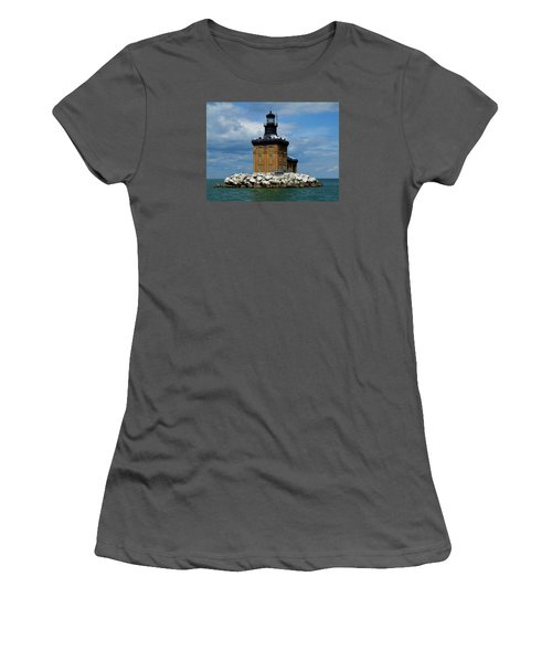 Toledo Harbor Lighthouse Women's T-Shirt (Junior Cut) by Michiale Schneider