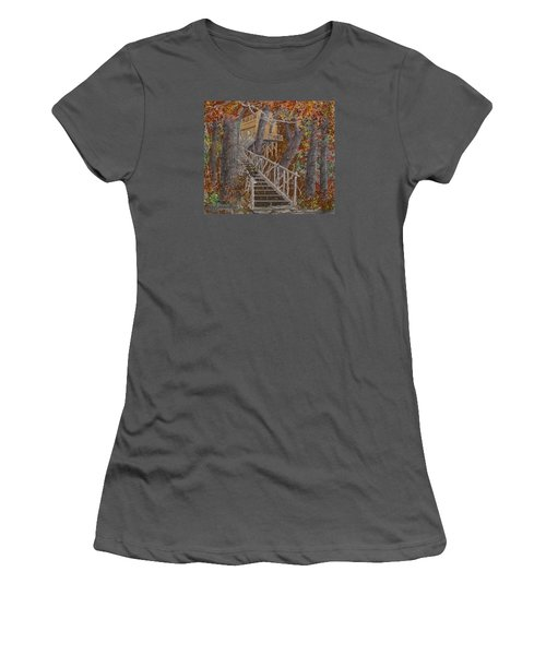 Women's T-Shirt (Junior Cut) featuring the drawing Tree House #1  by Jim Hubbard
