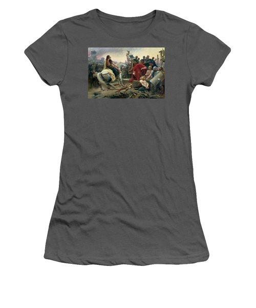 Vercingetorix Throws Down His Arms At The Feet Of Julius Caesar Women's T-Shirt (Athletic Fit)