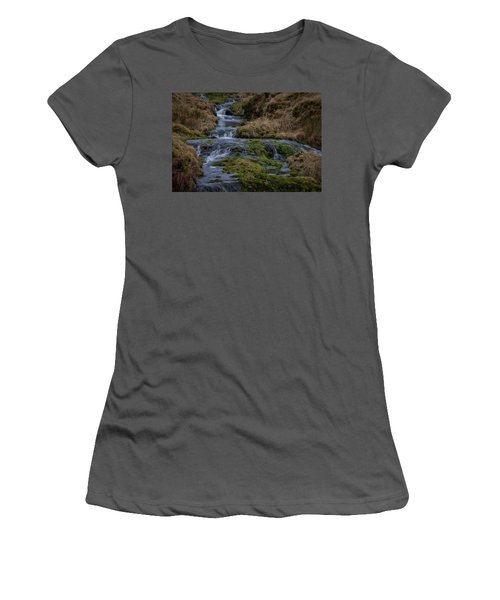 Women's T-Shirt (Athletic Fit) featuring the photograph Waterfall At Glendevon In Scotland by Jeremy Lavender Photography