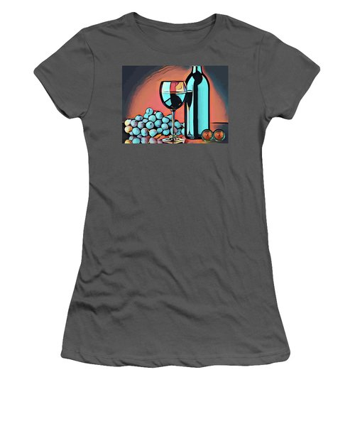 Wine Glass Bottle And Grapes Abstract Pop Art Women's T-Shirt (Athletic Fit)