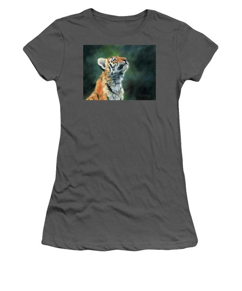 Women's T-Shirt (Junior Cut) featuring the painting Young Amur Tiger by David Stribbling