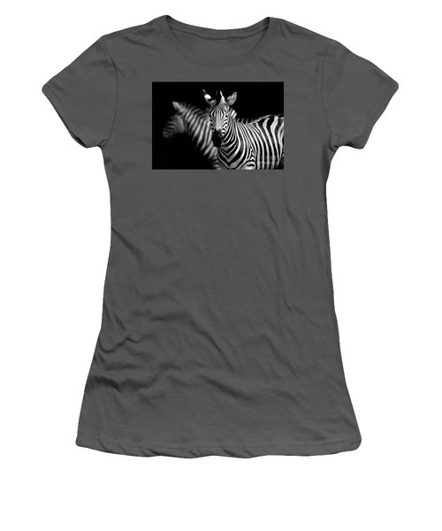 Women's T-Shirt (Junior Cut) featuring the photograph Zebra by Charuhas Images