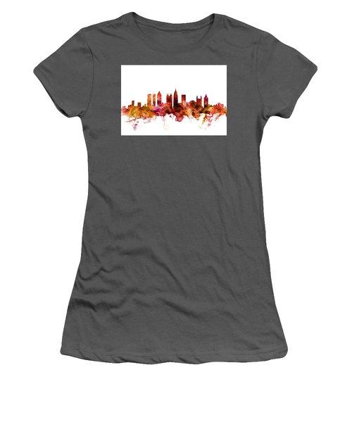 Women's T-Shirt (Junior Cut) featuring the digital art Houston Texas Skyline by Michael Tompsett