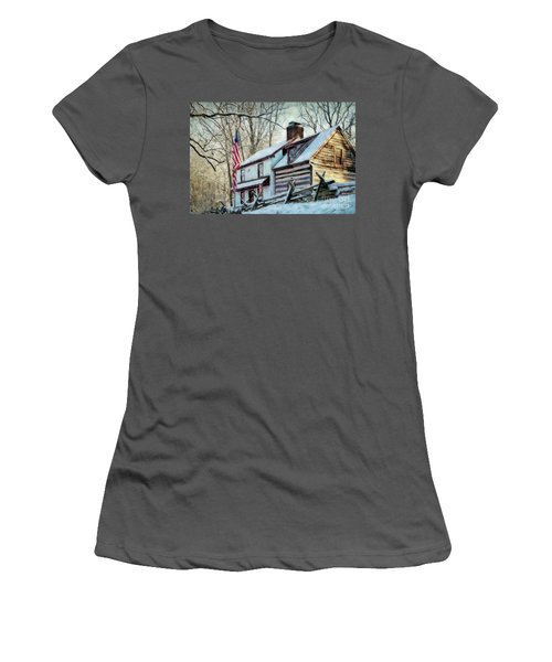 1700's Log House In West Chester, Pa Women's T-Shirt (Athletic Fit)