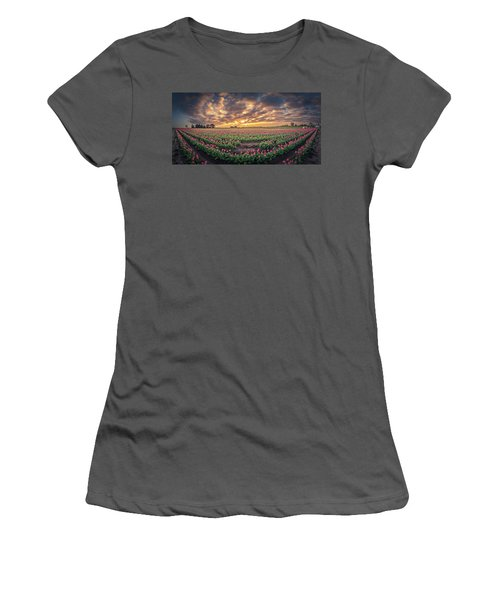 Women's T-Shirt (Athletic Fit) featuring the photograph 180 Degree View Of Sunrise Over Tulip Field by William Lee