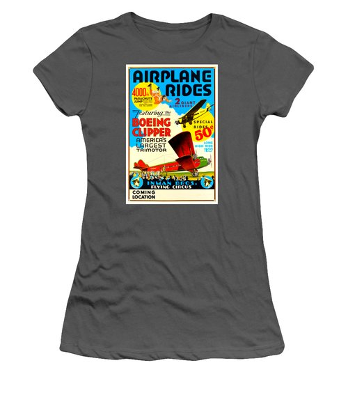 1929 Boeing Clipper Vintage Flying Circus Poster Women's T-Shirt (Athletic Fit)