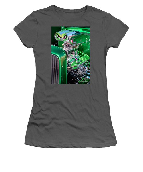 Women's T-Shirt (Junior Cut) featuring the photograph 1932 Green Ford Hot Rod Engine by Aloha Art