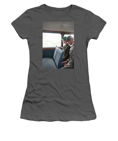 1940s Couple Sitting On A Vintage Bus Women's T-Shirt (Athletic Fit)