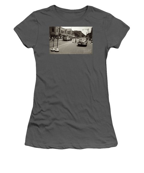 Women's T-Shirt (Athletic Fit) featuring the photograph 1940's Inwood Trolley by Cole Thompson