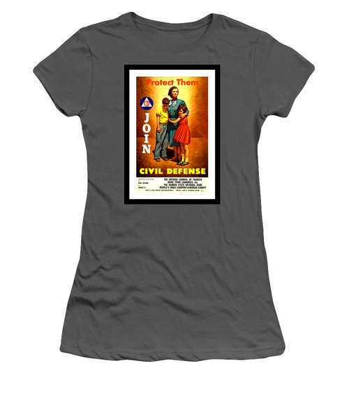 1942 Civil Defense Poster By Charles Coiner Women's T-Shirt (Junior Cut) by Peter Gumaer Ogden Collection