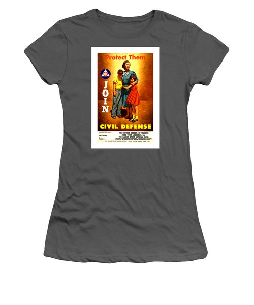 1942 Civil Defense Poster II By Charles Coiner Women's T-Shirt (Athletic Fit)