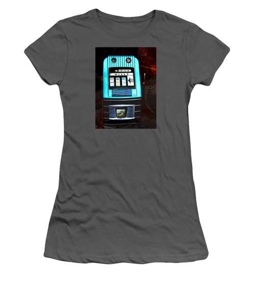 1945 Mills High Top 5 Cent Nickel Slot Machine Women's T-Shirt (Junior Cut) by Karon Melillo DeVega